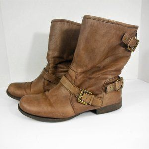 Nine West Flint GD Brown Leather Ankle Boots -8.5